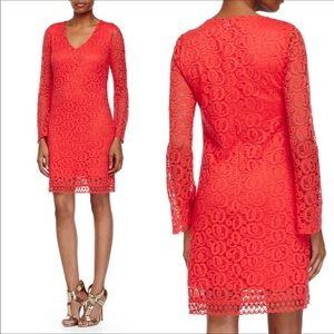 NWT Laundry Lace Red Bell long Sleeve Dress